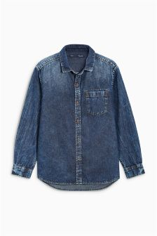 Long Sleeve Dark Wash Shirt (3-16yrs)