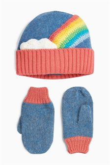 Rainbow Hat And Mitts Set (Younger Girls)