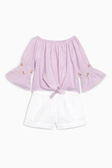 Tie Front Top And Ecru Shorts (3-16yrs)
