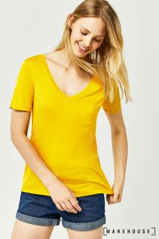 Warehouse Mustard V Neck Viscose Tee