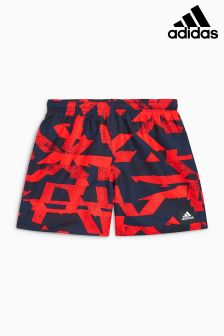 adidas Red Graphic All Over Print Swim Short