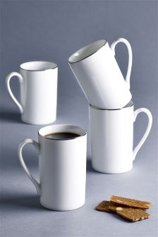 Set Of 4 Platinum Band Mugs
