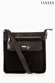 Oasis Black Leather Dex Cross Body Bag