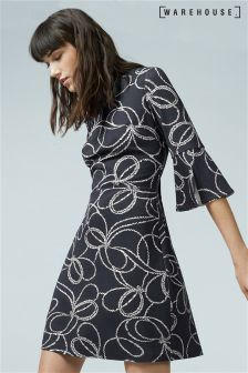 Warehouse Black/White Rope Print Split Cuff Ponte Dress