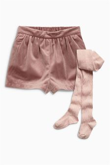 Velvet Shorts And Tights Set (3mths-6yrs)