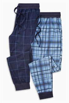 Check Cosy Cuffed Long Bottoms Two Pack