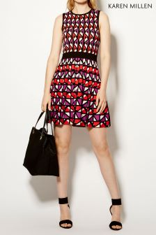 Karen Millen Red Colourful Geo Knit Collection Dress