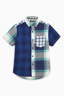 Short Sleeve Spliced Check Shirt (3-16yrs)