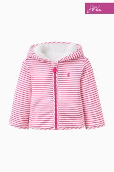 Joules Pink Stripe Reversible Fleece