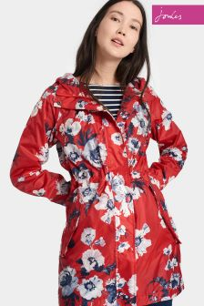 Joules Red Posy Waterproof Pack Away Golightly Parka