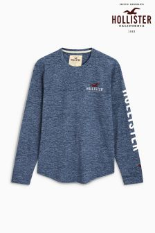 Hollister Navy Logo Long Sleeve Tee