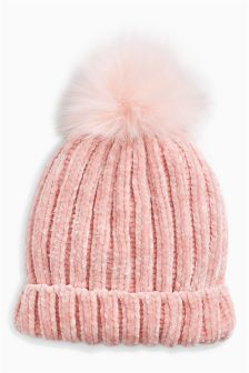 Faux Fur Chenille Pom Beanie (Older Girls)
