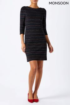 Monsoon Blue Lucia Stripe Jacquard Dress