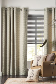 Grey Diamond Geo Jacquard Eyelet Curtains