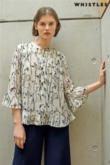 Whistles Cream Wheatsheaf Print Dobby Blouse