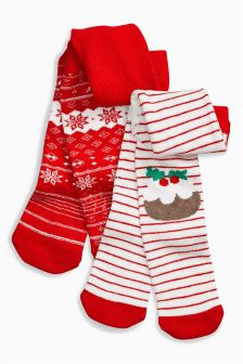 Pudding And Fairisle Pattern Tights Two Pack (0mths-2yrs)