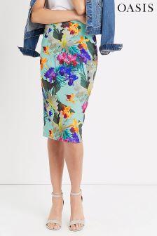 Oasis Mint Tropical Pencil Skirt