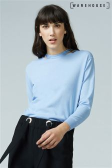 Warehouse Pale Blue Split Neck Crew Jumper