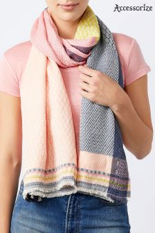 Accessorize Pink Cleo Bright Check Scarf