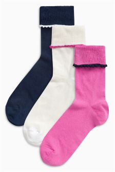 Fold Top Ankle Socks Three Pack