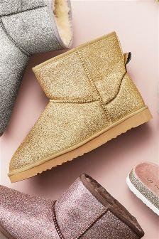 Glitter Slipper Boots