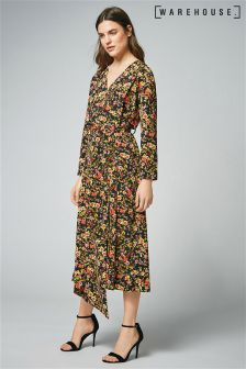 Warehouse Multi Sidney Floral Wrap Dress