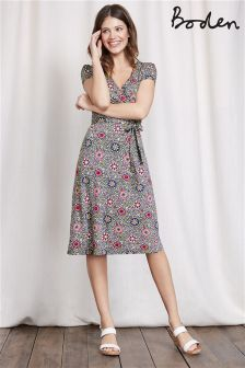 Boden Pewter Mosaic Summer Wrap Dress