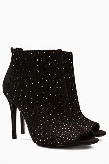 Peep Toe Sparkle Shoe Boots