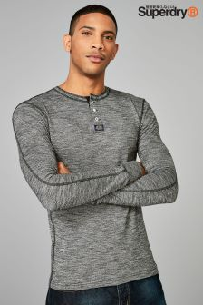 Superdry Charcoal Heritage Long Sleeve Grandad Top