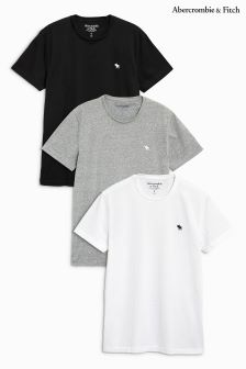 Abercrombie & Fitch Grey/White/Black V Neck Tee Multi Pack