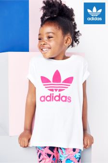 adidas Originals Little Kids White/Pink Trefoil T-Shirt