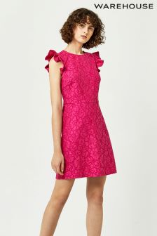 Warehouse Pink Frill Sleeve Bonded Lace Dress