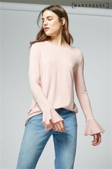 Warehouse Pink Woven Flute Top