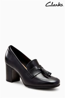 Clarks Black Kensett Leather Block Heel Loafer Shoe