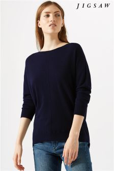 Jigsaw Blue Button Back Dropped Hem T-Shirt