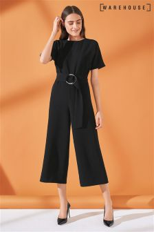 Warehouse Black O-Ring Jumpsuit