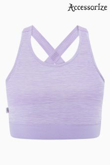 Accessorize Purple Sport Mesh Crop Top