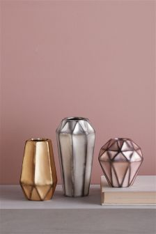 Set of 3 Mixed Metallic Vases
