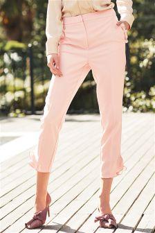 Ruffle Detail Skinny Trousers