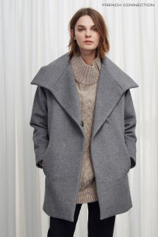French Connection Grey Bennie Wool Wide Collar Coat