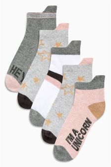 Slogan Trainer Socks Five Pack (Older Girls)