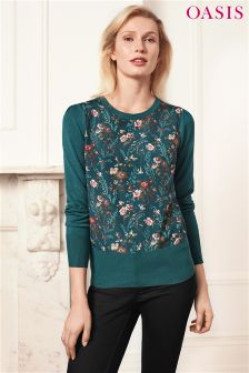Oasis Green Lottie Woven Floral Knit