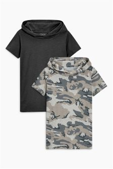 Short Sleeve Hoody T-Shirts Two Pack (3-16yrs)