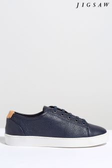 Jigsaw Blue Ayda Grain Leather Trainer