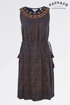 Fat Face Navy Roxy Safari Spot Dress