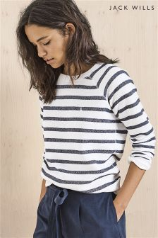 Jack Wills White Navy Stripe Colby Sweatshirt