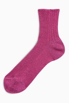 Sparkle Ribbed Ankle Socks