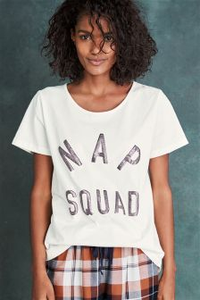 Nap Squad Slogan Tee With Navy/Rust Check Short Set