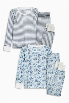 Floral/Stripe Snuggle Pyjamas Two Pack (3-16yrs)