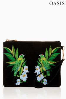Oasis Black Hummingbird Embroidered Clutch